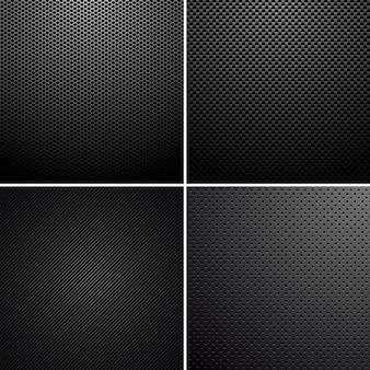 Ensemble de textures métal-carbone.