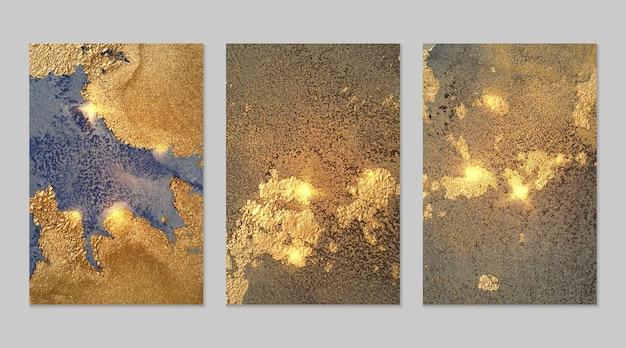 Ensemble de textures d'or et de bleu fortuna de géode et d'étincelles, peinture moderne de technique d'encre d'alcool avec des paillettes