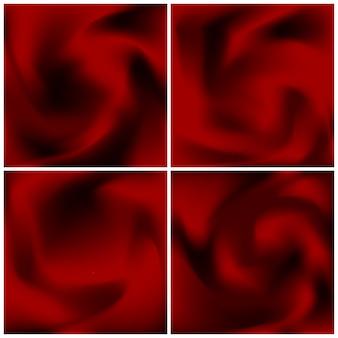 Ensemble de textures de satin rouge. abstrait écarlate