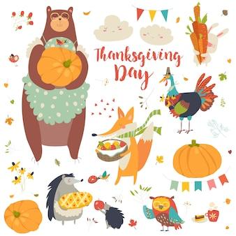 Ensemble de thanksgiving avec des animaux de la forêt