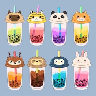 Ensemble de thé à bulles kawaii avec des visages d'animaux.