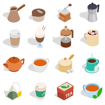 Ensemble de thé et café dans un style 3d isométrique isolé sur fond blanc