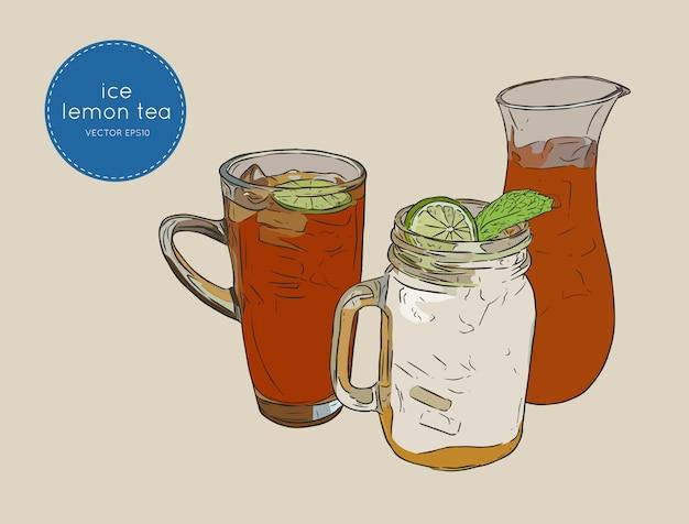 Ensemble de thé glacé au citron et à la menthe, croquis.