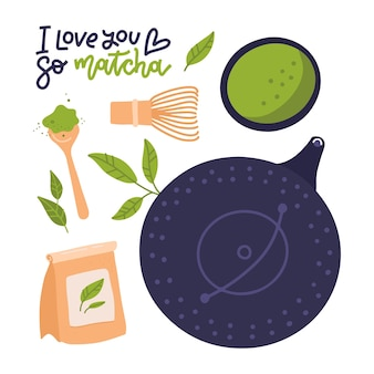 Ensemble de thé matcha avec lettrage citation je t'aime tellement objets matcha isolés sur blanc