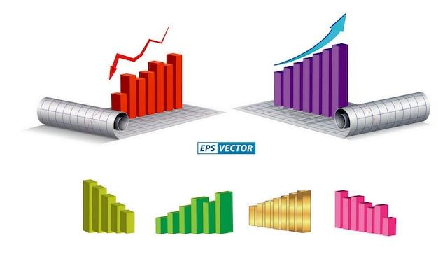 Ensemble de thème de graphique économique ou d'infographie économique ou concept de rapport annuel