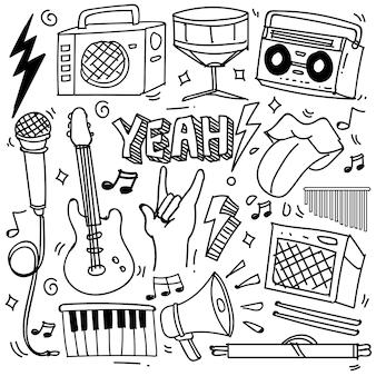 Ensemble de thème de musique dessiné à la main isolé sur fond blanc, ensemble de griffonnage de thème instruments de musique. illustration vectorielle