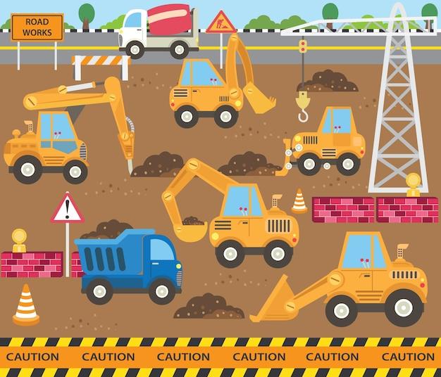 Ensemble de thèmes de transport de construction mignon