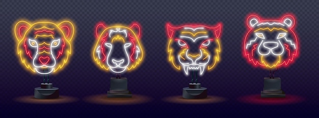 Ensemble de tigre d'eau bleu néon 2022. nouvel an chinois néon 2022 année du tigre, personnage de dessin au trait, style néon sur fond noir.