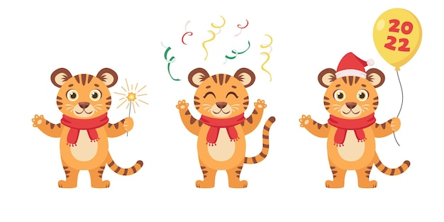 Ensemble de tigres mignons année du tigre