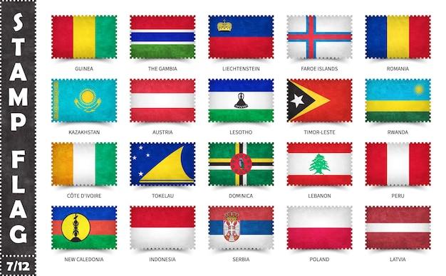 Ensemble de timbres avec des drapeaux officiels des pays