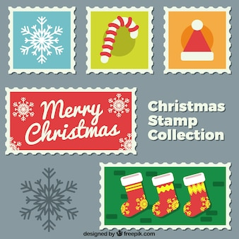 Ensemble de timbres de noël colorés