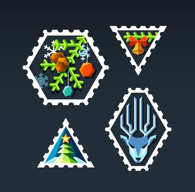 Ensemble de timbres de noël plats de couleur.