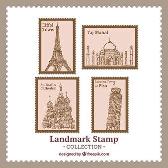 Ensemble de timbres de point de repère dans le style dessiné à la main