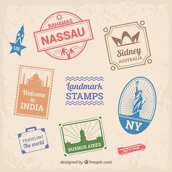 Ensemble de timbres de point de repère dans le style plat