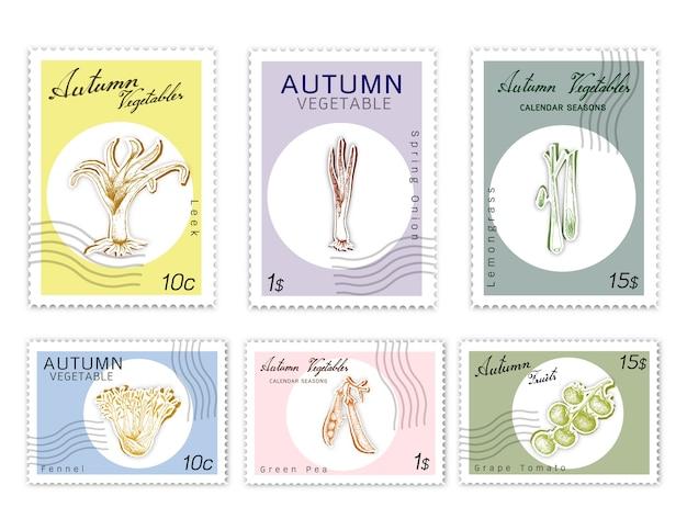 Ensemble de timbres postaux de légumes d'automne avec papier découpé