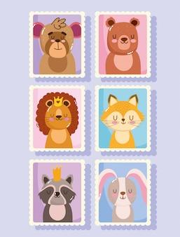 Ensemble de timbres-poste de dessin animé animaux