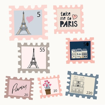 Ensemble de timbres-poste avec des dessins du concept de carte postale de décoration intérieure de salle d'affiches dessinées à la main de paris