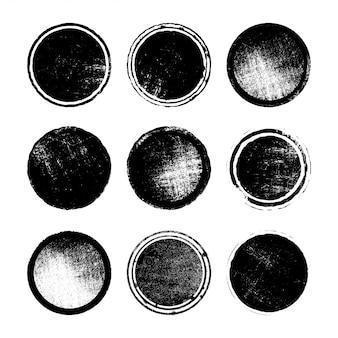 Ensemble de timbres poste grunge, cercles