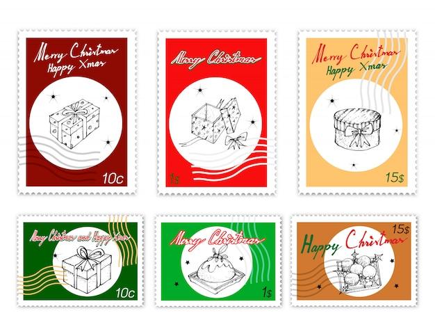 Ensemble de timbres poste d'objets de noël dessinés à la main