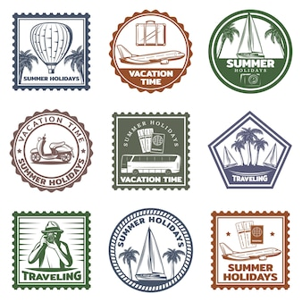Ensemble de timbres de vacances d'été vintage