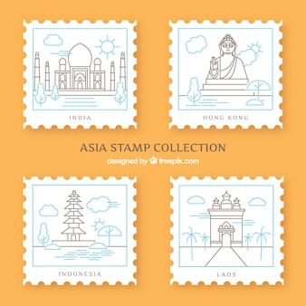 Ensemble de timbres de la ville dans le style plat