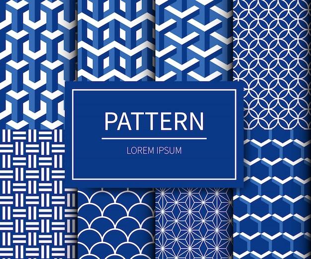 Ensemble de tissu minimal traditionnel style japonais. motif japonais dans les tons bleu-blanc.
