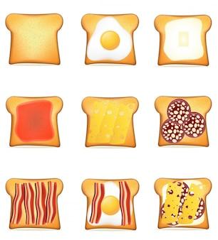 Ensemble de toasts recettes vector illustration
