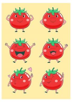 Ensemble de tomates de dessin animé mignon dans des poses différentes.