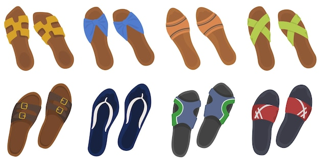 Ensemble De Tongs D'été. Chaussures Masculines Et Féminines En Style Cartoon. Vecteur Premium