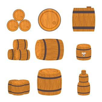 Ensemble de tonneaux en bois