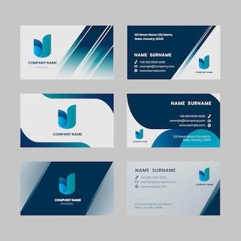 Ensemble de tons bleus vectoriels modèle modifiable de carte de visite