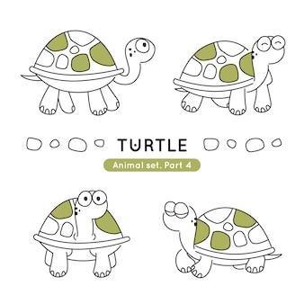 Ensemble de tortues doodle dans diverses poses isolés
