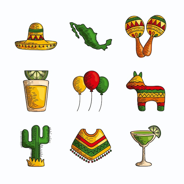 Ensemble, de, traditionnel, mexicain, éléments clipart