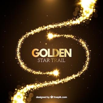 Ensemble de traînées d'étoiles dorées