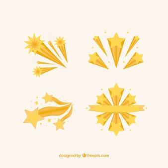 Ensemble de traînées d'étoiles jaunes