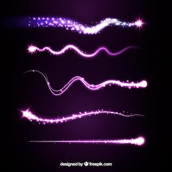 Ensemble de traînées d'étoiles violettes