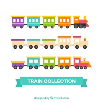 Ensemble de trains de jouets colorés