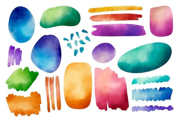 Ensemble de traits et de taches d'aquarelle peints à la main