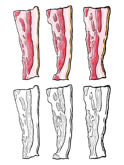 Ensemble de tranches de bacon dessinés à la main. isolé sur blanc. griffonnage. esquisser.