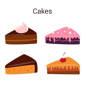 Ensemble de tranches de gâteau