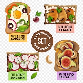 Ensemble transparent de sandwiches