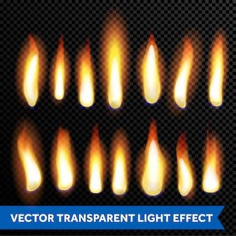 Ensemble transparent transparent de flammes de feu