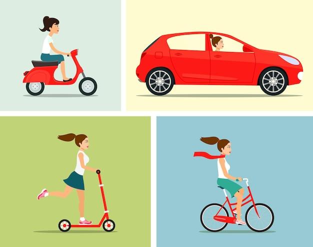 Ensemble de transport. fille monte en transport.