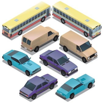 Ensemble de transport urbain isométrique. voitures avec des ombres isolés sur fond blanc