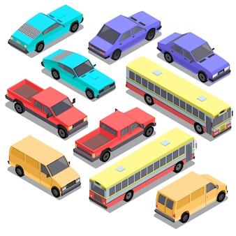 Ensemble de transport urbain isométrique, voitures