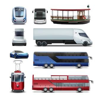 Ensemble de transports publics eau, rail, souterrain et électrique