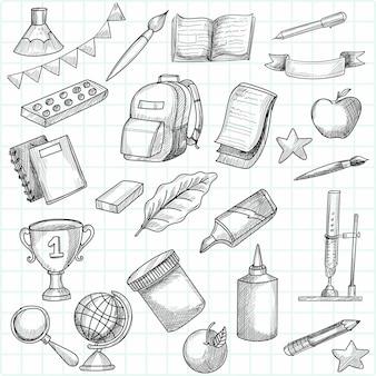 Ensemble de travail et d'éducation doodle dessinés à la main
