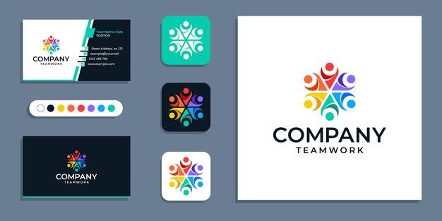 Ensemble, travail d'équipe, logo d'entreprise de personnes unies et modèle d'inspiration pour la conception de cartes de visite