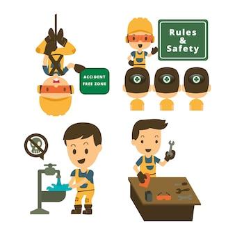 Ensemble de travailleur constructeur de caractères dans diverses situations.