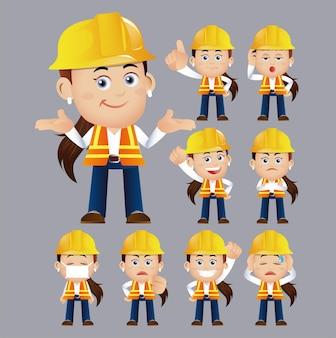Ensemble de travailleurs différents gestes et émotions